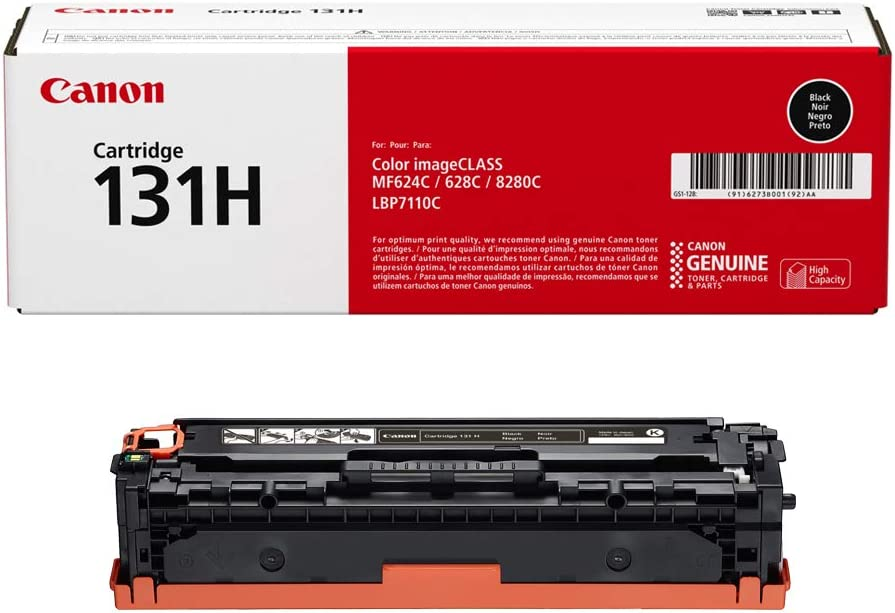 Canon Genuine Toner, Cartridge 131 Black, High Capacity (6273B001), 1 Pack, for Canon Color imageCLASS MF8280Cw, MF624Cw, MF628Cw, LBP7110Cw Laser Printers, Model Number: 131 Black High Capacity