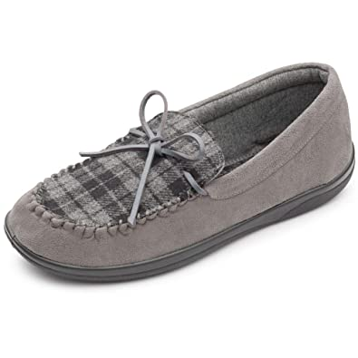 bf9dca79c907 Padders Lounge 432 Mens Moccasin Slippers 9 UK Grey Combi  Amazon.co ...