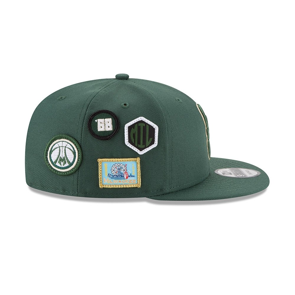 premium selection 54e44 f96ce New Era NBA MILWAUKEE BUCKS Authentic 2018 Draft 9FIFTY Snapback Cap   Amazon.co.uk  Sports   Outdoors