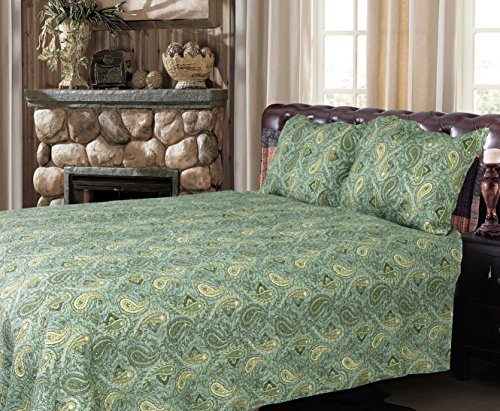 Cozy Line Home Fashions Classic Paisley 3-Piece Bedding Quilt Set, Green Cotton All Season Reversible Coverlet, Bedspread, Gifts for Women (Green Paisley, Queen - 3 Piece) from Cozy Line Home Fashions