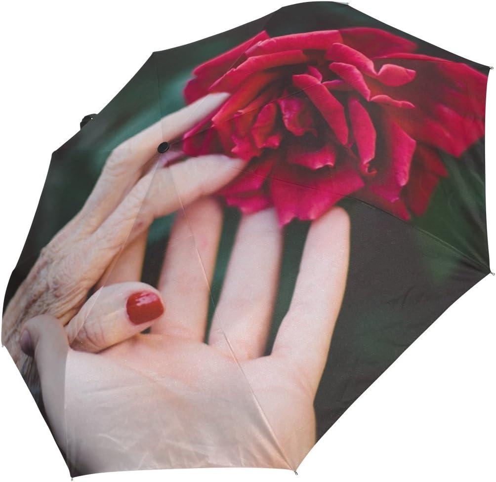 DOENR Compact Travel Umbrella Hand Rose Sun and Rain Auto Open Close Umbrellas Portable Outdoor Folding Umbrella