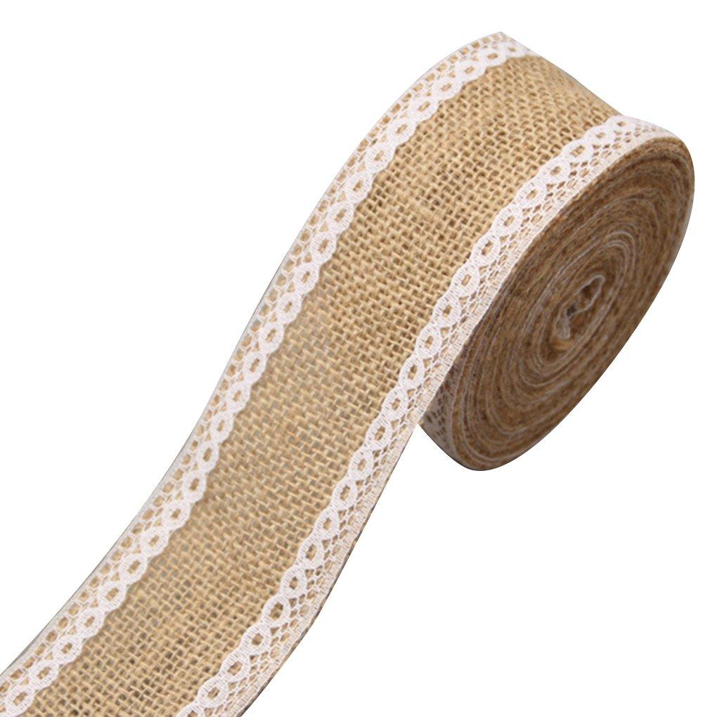 LUFA 2M / rodillo de lino de encaje de yute Arpillera Roll Trim para la Navidad Decoración de la boda Decoración rústica de la boda