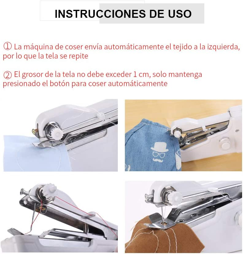 MIFU Mini Máquinas de coser Portátil Herramienta de Puntada Rápida para Tela Ropa con Set de Costura para Uso de ...