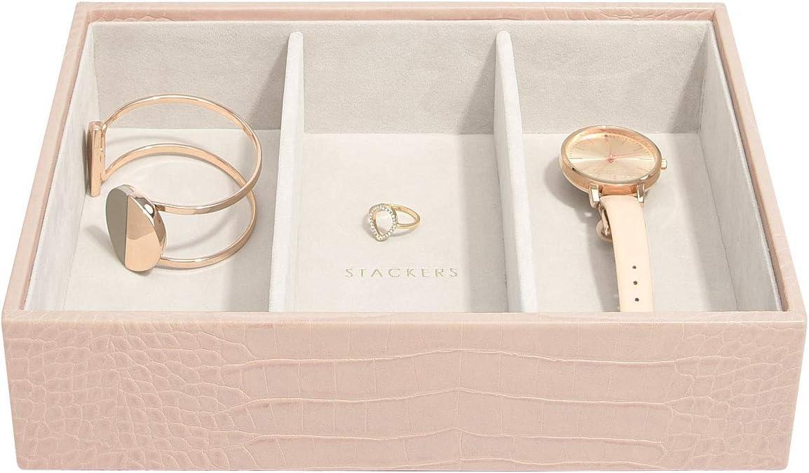 Stackers Similpelle Rosa pastello Portagioie di dimensioni medie medium set da 3 pezzi con classico design a pelle di coccodrillo