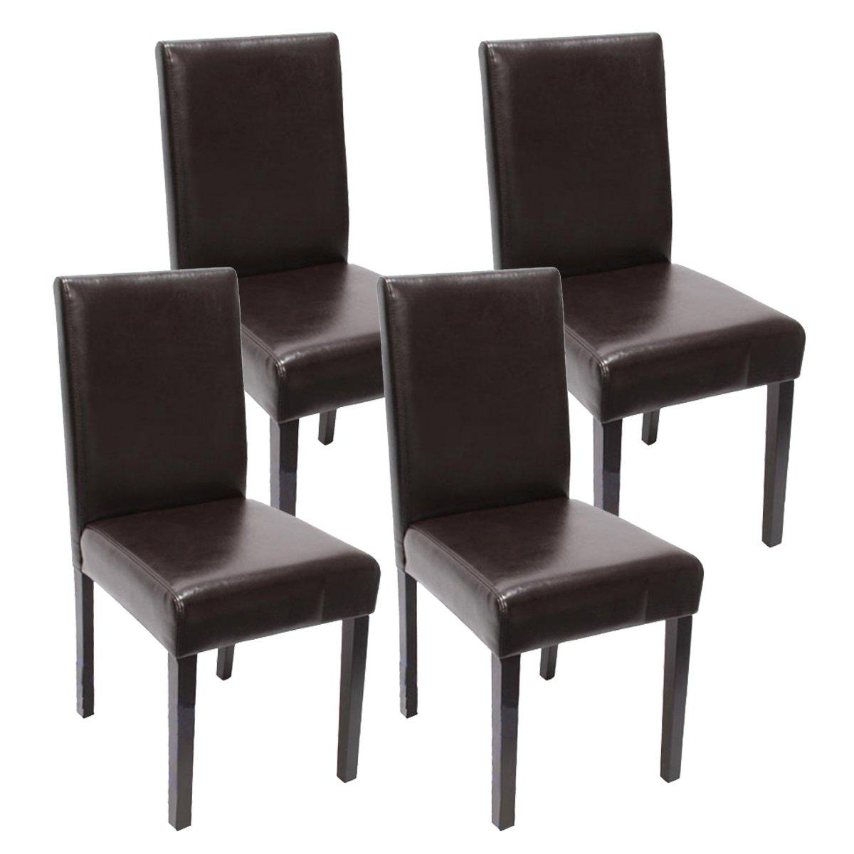 Lot de 4 chaises de sÉjour Littau - simili-cuir - marron - pieds foncÉs
