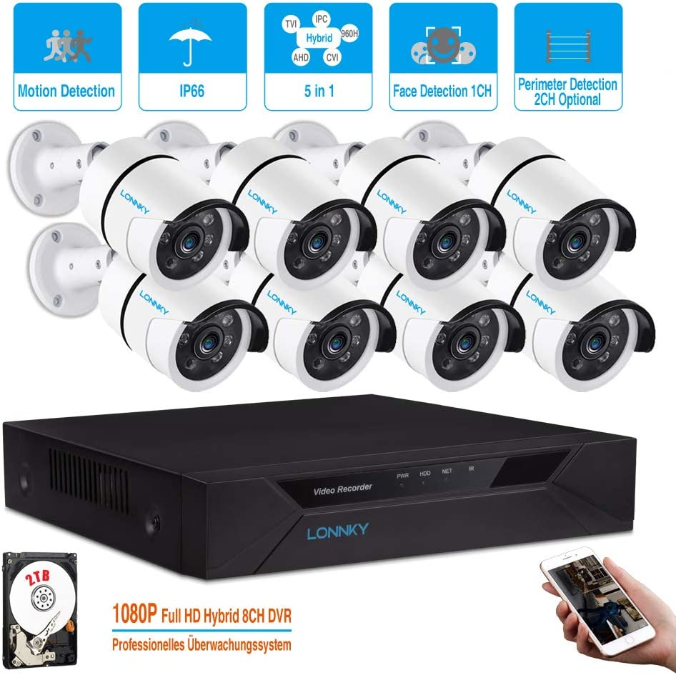 LONNKY 8CH Security Surveillance System H.264 1080P Lite Wired DVR and 8 1080P HD Weatherproof CCTV Camera System,Clear Light Vison,Remote Viewing,Email Alarm,Face Detection,2TB HDD