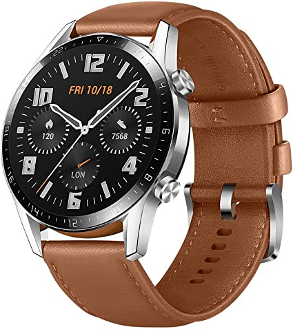 Huawei Watch GT 2 2019 Bluetooth SmartWatch, Longer Lasting 2 Weeks Battery Life, Waterproof, Compatible with iPhone and Android, 46mm (Pebble Brown)