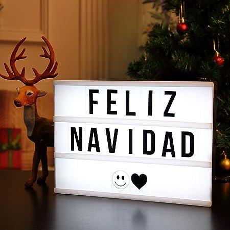 AGM LED caja de luz cinematográfica luz cálida con letras, números, símbolos, emojis, el Mejor Regalo de San Valentín: Amazon.es: Hogar