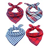 #3: Invlab Dog Bandanas - 4 Pack Washable Triangle Bibs Scarfs, Reversible Plaid printing Kerchief for Dogs and Cats