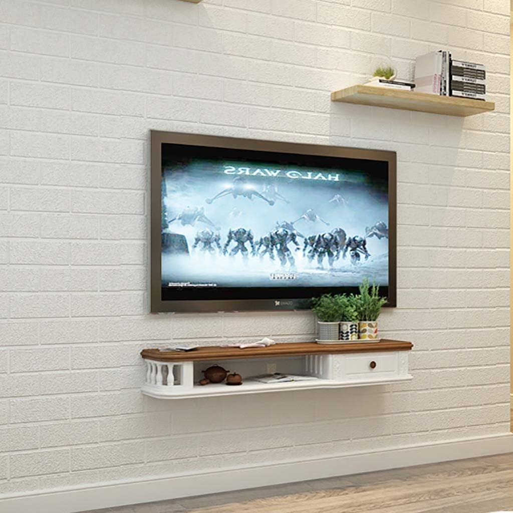 Los estantes flotantes de madera flotante TV Gabinete, Unidad de montaje en pared entretenimiento, Estantería multimedia, for cajas de cable / routers / Controles remotos / DVD / Consolas de almacenam: Amazon.es: Hogar