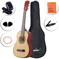 ADM Beginner Classical Guitar 30 Inch Nylon Strings Bundle with Carrying Bag & Accessories, Natural Gloss