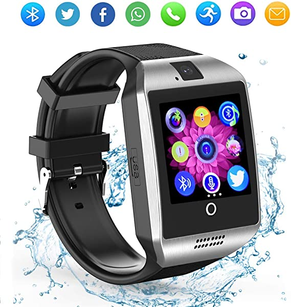 LAHYXAL Smart Watch Touchscreen Bluetooth Smartwatch Fitness Tracker Sport Watch with Camera SIM SD Card Slot Sleep Step Monitor Compatible iPhone iOS ...