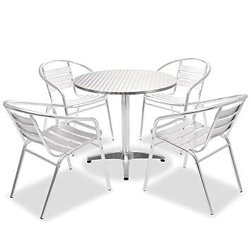 5 De Bistro Table Empilables Jardin Pcs En 4 Et Chaises Festnight Aluminium Ronde 7gf6Yby