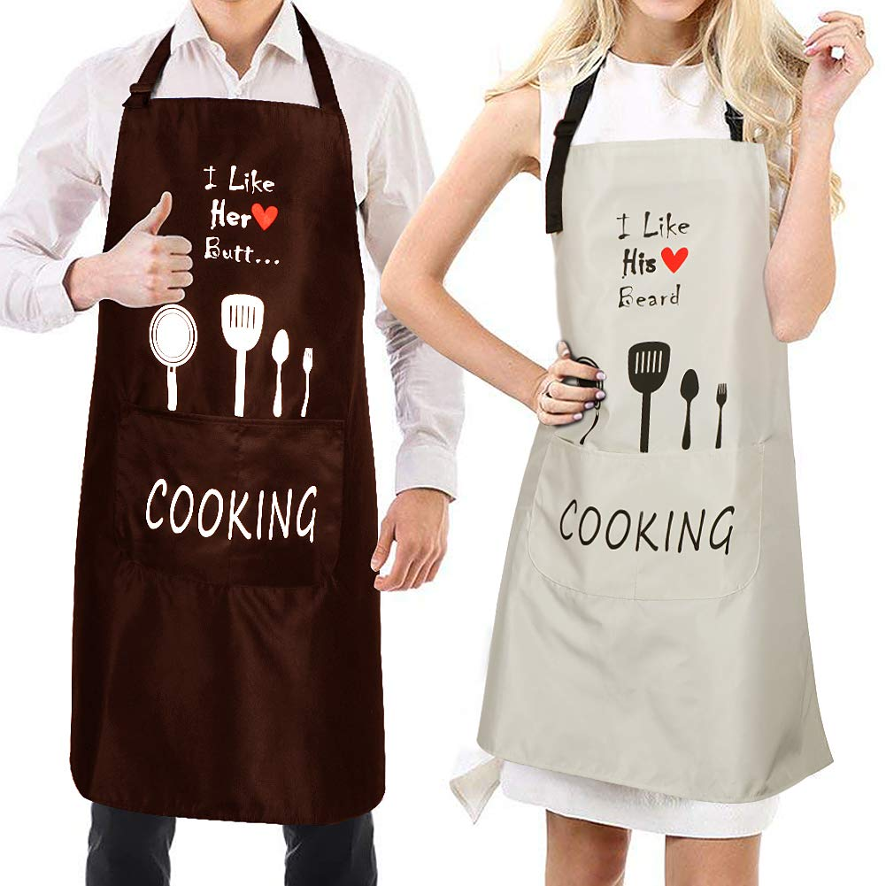 2pack Tablier /Étanche R/églable 2 Poches Dr/ôle De Cuisine pour La Maison Cuisine Restaurant Caf/é Maison Anniversaire De Mariage Anniversaire VAMEI Couple Tabliers