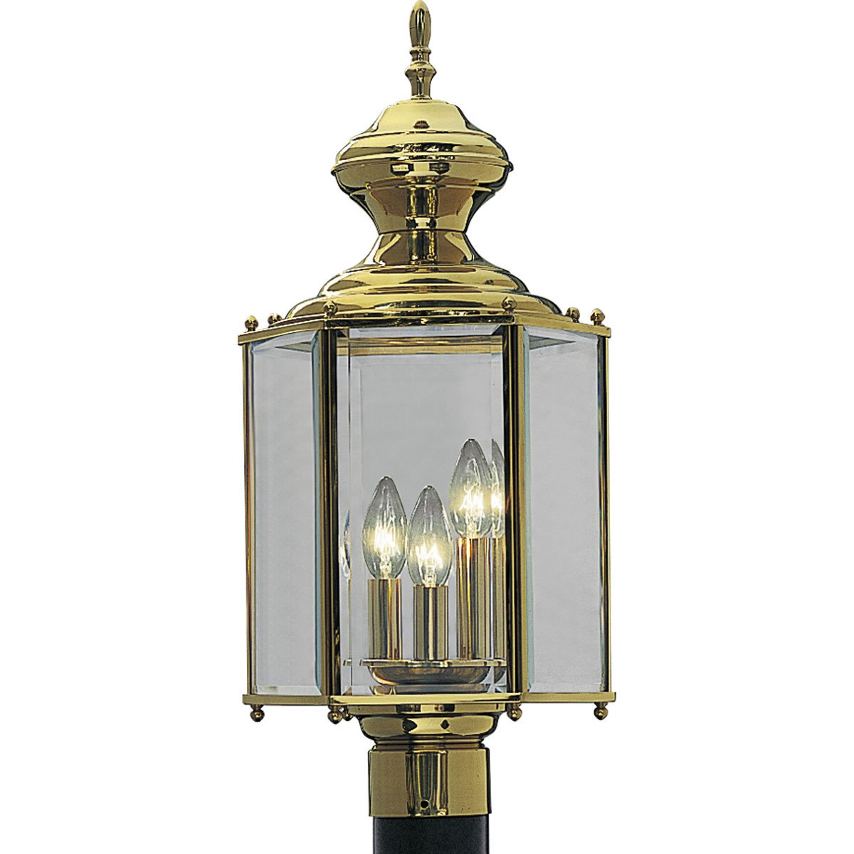 Progress Lighting P5432-10 Hexagonal Post Lantern with Clear Beveled Glass, Polished Brass by Progress Lighting (Image #1)