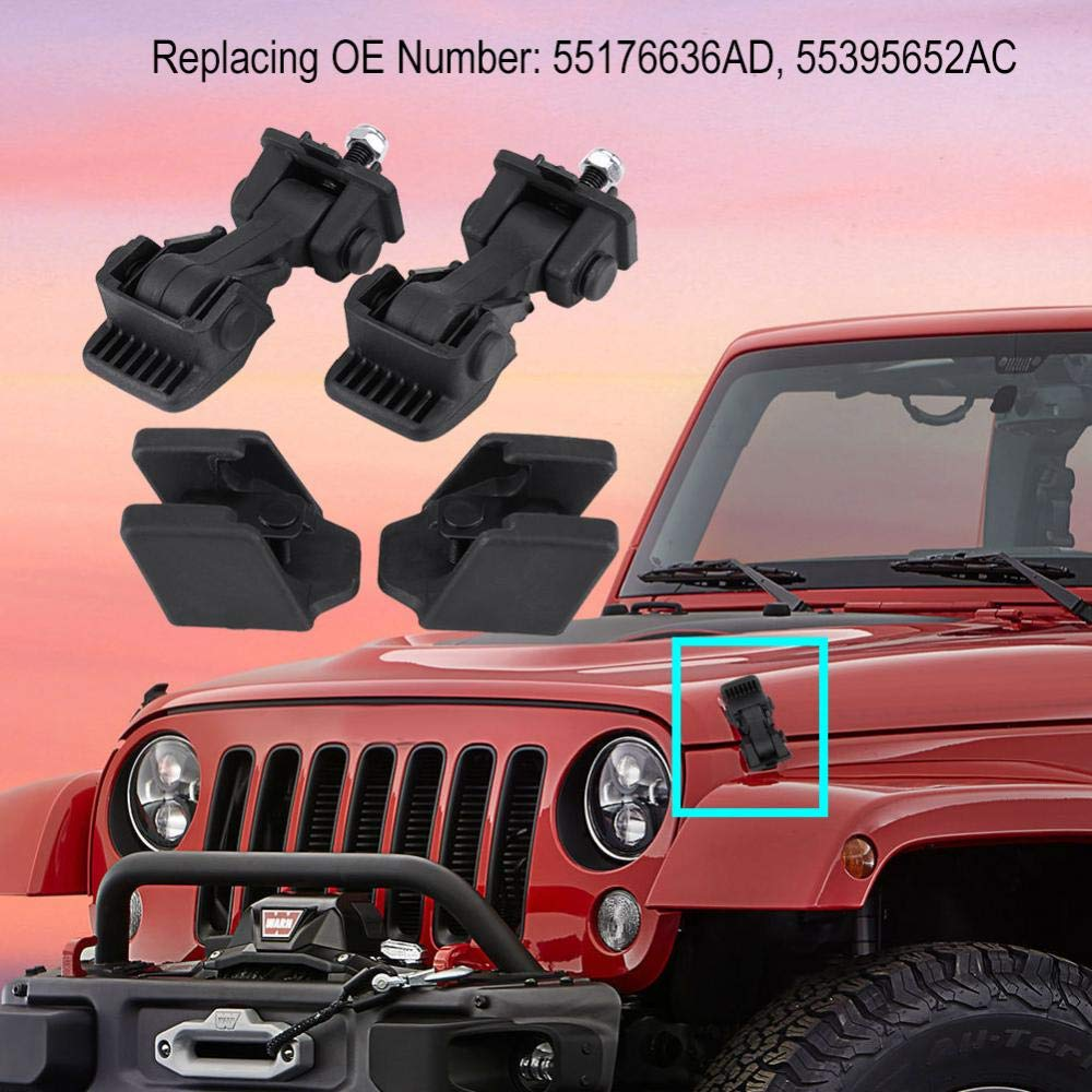 Hood Latch Hood Lock Catch 55176636AD 55395652AC Aluminum Hood Latches Catch Kit for Jeep Wrangler TJ 1997-2006