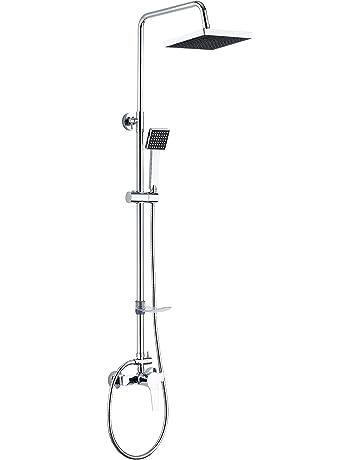 DP Grifería - Set de ducha extensible con grifo monomando incluido, color plateado, modelo