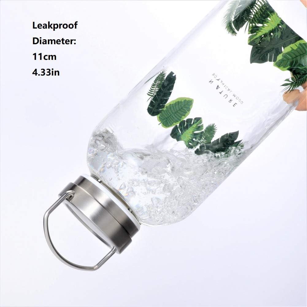 Gulujoy Glass Water Bottle 64 oz Leakproof Lid Neoprene Sleeve Wide Mouth Portable Reusable Eco Friendly