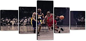 NBA Legends Michael Jordan,Kobe Bryant Painting on Canvas 5 Pieces Wall Art Framed Artwork Basketball Pictures Premium Textured Print Poster Home Decor for Living Room Boy Room Stretched (50''Wx24''H)