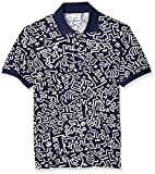 Lacoste Men's S/S All Over Printed Mini Pique Polo Classic FIT, Navy Blue/White, 4X-Large