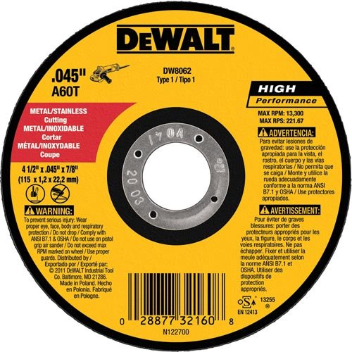 "5 Pack Dewalt 4.5/"" x 0.045/"" Metal /& Stainless Cutting Wheel DW8062B5"