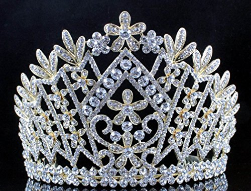 - Janefashions Daisy Austrian Crystal Rhinestone Tiara Crown Bridal Prom Pageant T1861g Gold