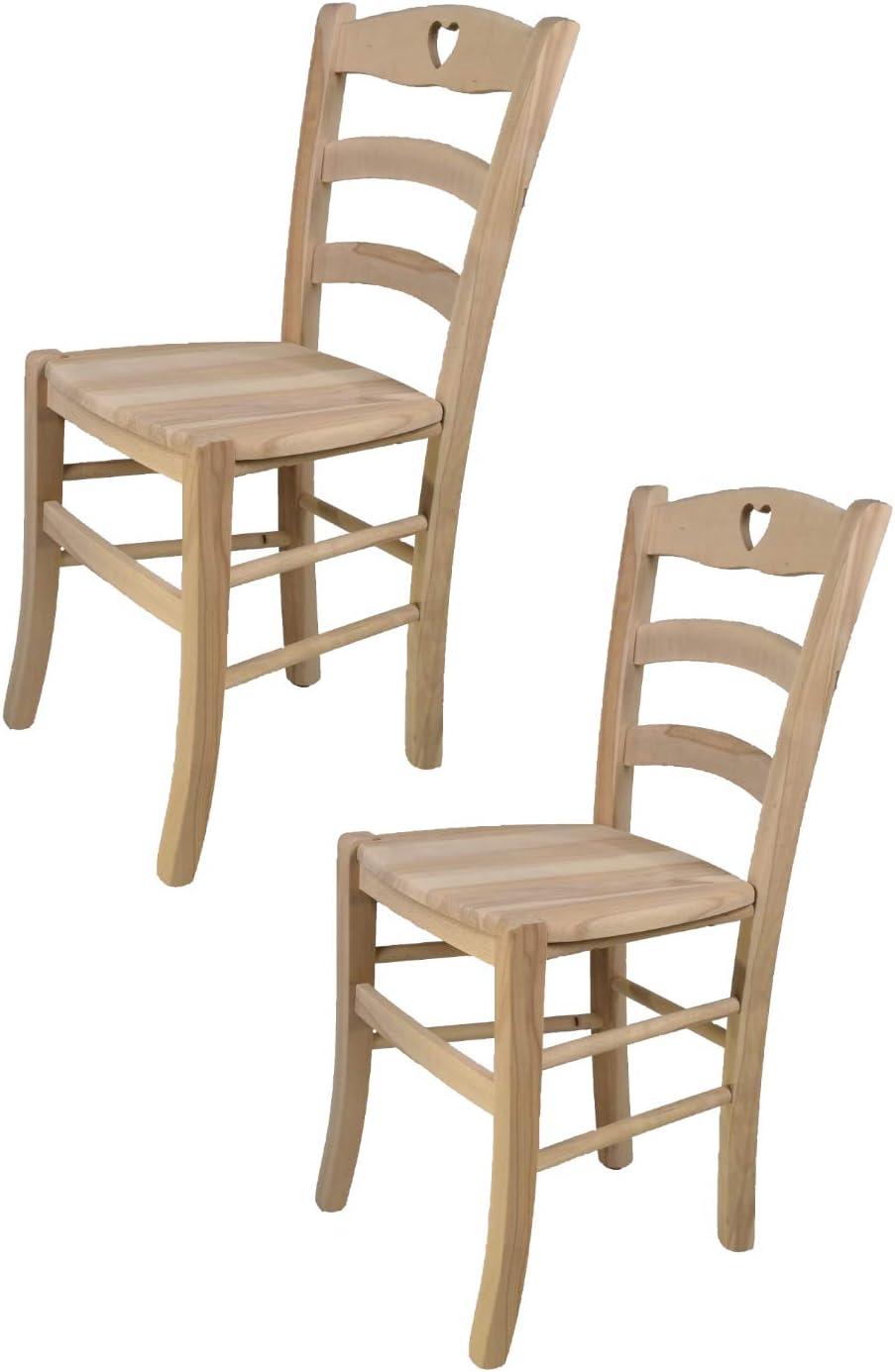 Tommychairs sedie di Design con Robusta Struttura in Legno Color anilina Bianca e Seduta in Legno massello Set 2 sedie Classiche Cuore 38 per Cucina Bar e Sala da Pranzo