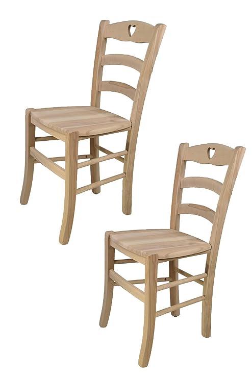 Sedie Artigianali Legno.Tommychairs Set 2 Sedie Classiche Cuore 38 Per Cucina Bar E Sala Da Pranzo Con Robusta Struttura In Legno Di Faggio Levigato Non Trattato 100