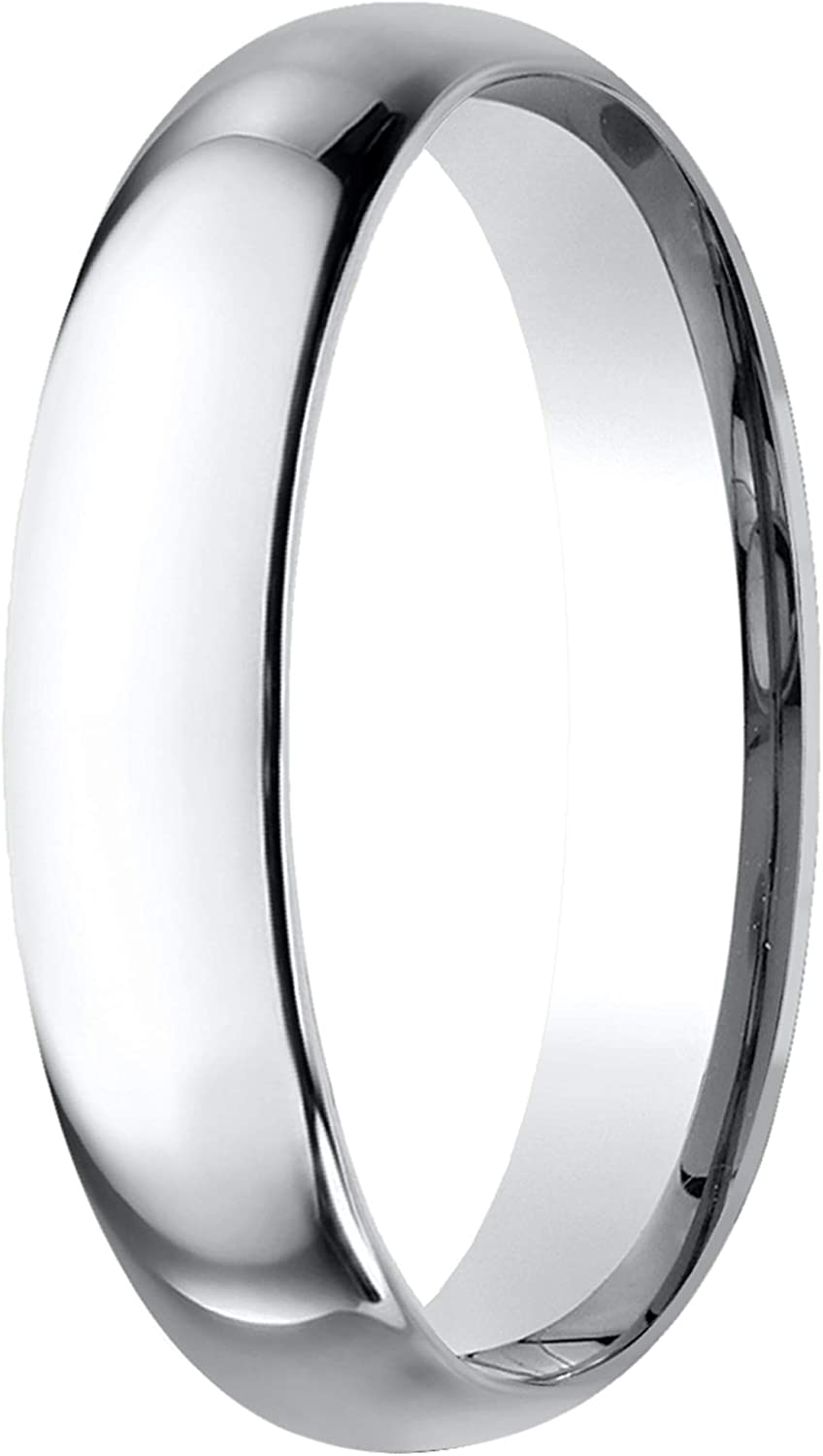 Prism Jewel 4.30mm D Shape Unisex Plain Stackable Wedding Band Crafted In 10k Gold