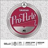 D\'Addario Pro-Arte Cello Single D String, 3/4 Scale, Medium Tension