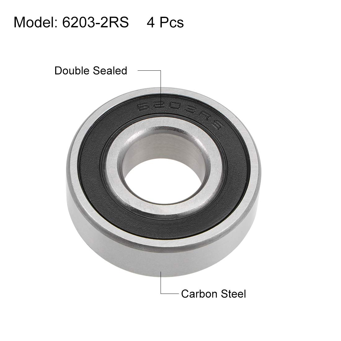 sourcing map 6203-2RS R/ígidos Rodamientos Bolas Z2 17mm x 40mm x 12mm 4pcs Blindaje Doble Acero Carbono
