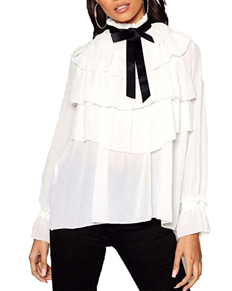 WOMEN/'s RUFFLE FULL SLEEVE BLOUSE BOW FRILL style PARTY TOP UK SIZE 8-14