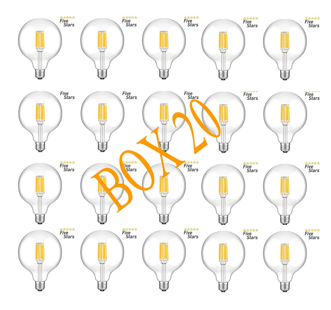 E-Led 10 O 20 Lampen GLOBO 8 W warmes Licht EFFEKT VINTAGE BOX 20 3000