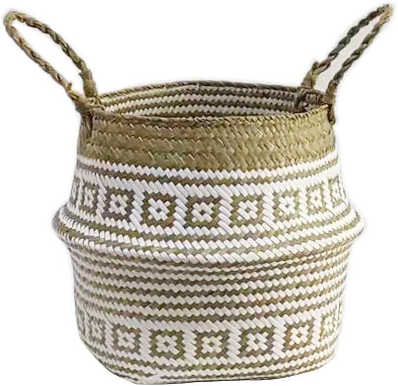 Sayla Pots De Tissage DAlgues Panier De Rangement Pliant Plaid Blanc Chrysanth/èMe