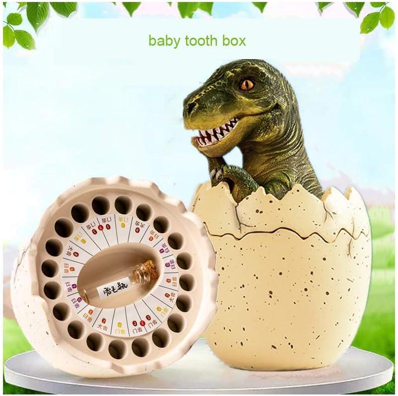Color : Green Bo/îte de rangement dents dinosaure enfant forme des dents de b/éb/é vert b/éb/é de stockage brun b/éb/é cheveux enfant enregistrements bo/îte quenottes de stockage de m/émoire denfance