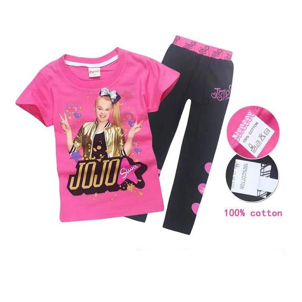 Girls JoJo Siwa Print Cartoon T Shirt+Trousers Children Casual Set 2pcs (Rose Red, 120(6-7y))