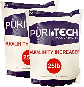 Puri Tech Pool Chemicals 50 lb Total Alkalinity Increaser Plus for Swimming Pool Water Increases Total Alkalinity Prevents Water from Cloudiness or Scaling