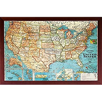 Amazon.com: Poster Art House Framed (US Map) United States, USA US ...