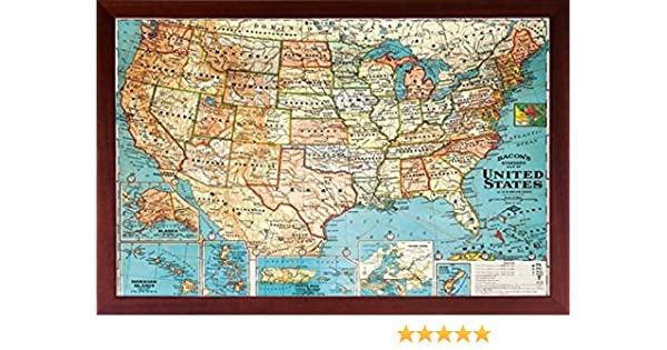 Amazon.com: Framed (US Map) United States, USA US Vintage Wall Map ...