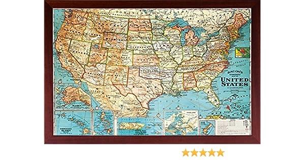 Amazon Com Framed Us Map United States Usa Us Vintage Wall Map