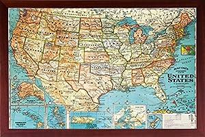 Amazoncom Framed US Map United States USA US Vintage Wall Map - Framed us map