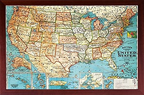 Amazoncom Framed US Map United States USA US Vintage Wall Map - States in us map