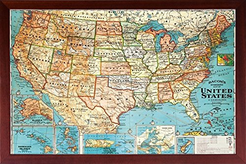 (Poster Art House Framed (US Map) United States, USA US Vintage Wall Map Wood Frame Walnut Brown)