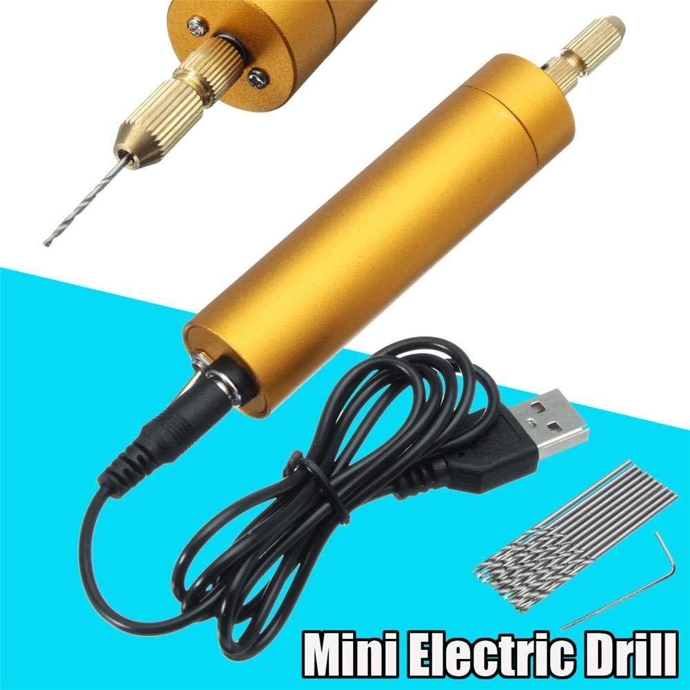 Bohrmaschine mit 10 Spiralbohrer,Mikro Handbohr Drillbohrer f/ür Hobby,DIY Mini kleine elektrische Handbohrmaschine