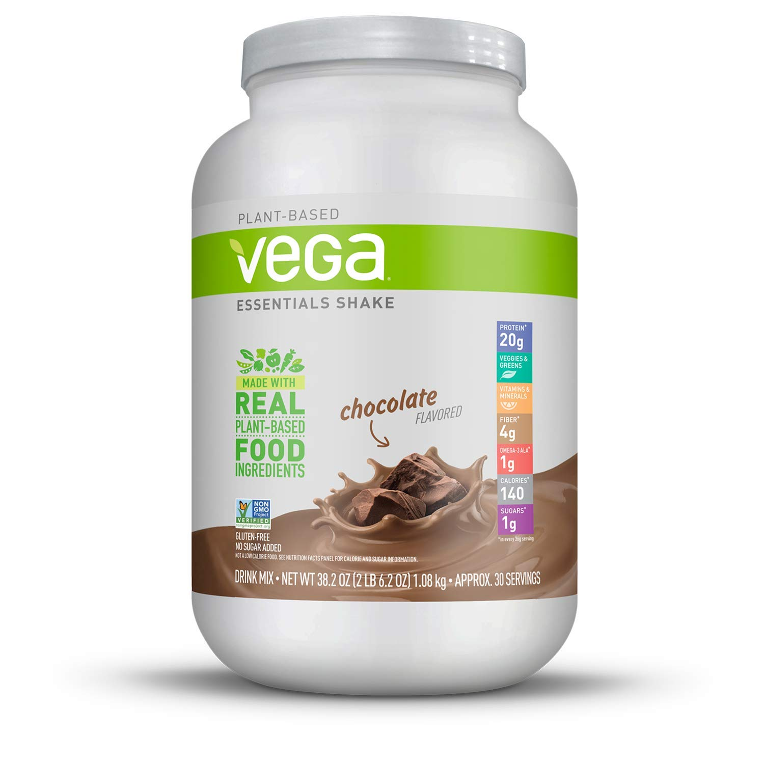 Vega Essentials Shake Chocolate(30 Servings, 38.1 oz) - Plant Based Vegan Protein Powder, Non Dairy, Gluten Free, Smooth and Creamy, Non GMO