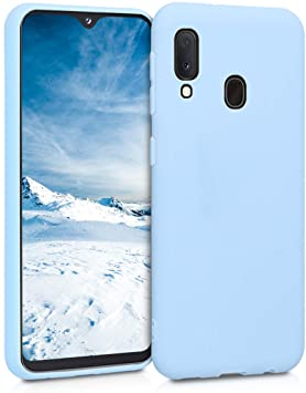 kwmobile Coque pour Samsung Galaxy A20e - Coque Housse Protectrice pour Téléphone en Silicone Bleu Clair Mat