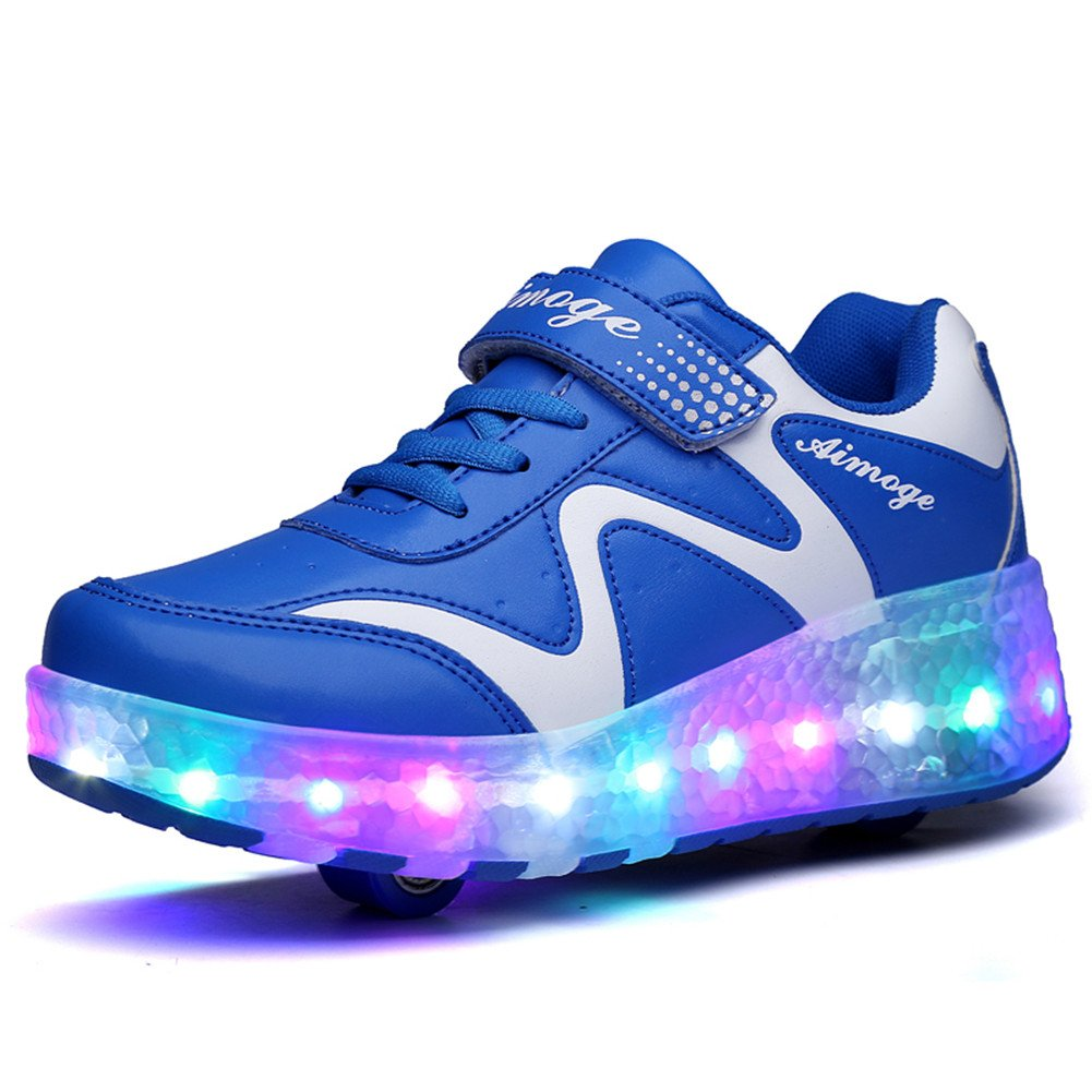 Ufatansy Uforme Kids Girls Boys Fashion Lightweight Training Shoes Flashing LED Light Up Sneakers Single Wheel Double Wheels Roller Skate Shoes (5.5 M US =CN38, Royal Blue-Double Wheels)
