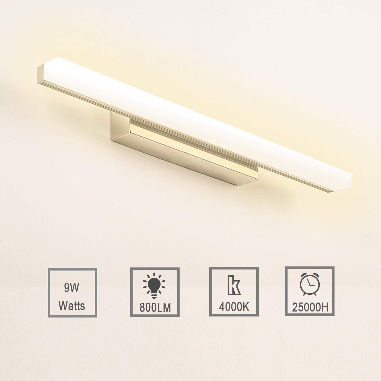 Lampe Miroir LED 8W Applique Salle de Bain Blanc Froid 6000K Luminaire Salle de Bain Int/érieure Moderne lampe Eclairage Salle de Bain 800LM 40CM Non-dimmable IP44