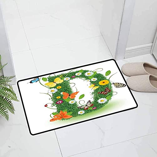 Letter D Indoor Outdoor Kitchen Rugs and Mats Holiday Doormat Exotic Abloom Letter Organic Foliage Papilio Wings Seasonal Composition for Entry and High Traffic Areas, 47 x 31.5 inch Green Multicolor