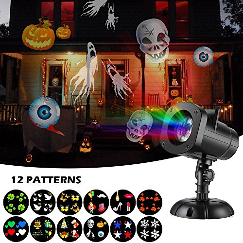 Christmas Lights Projector, Halloween Christmas Outdoor Night Snowflakes Projector Light Decorations 12 Slides LED Moving Landscape Spotlights for Holiday Christmas Decoration